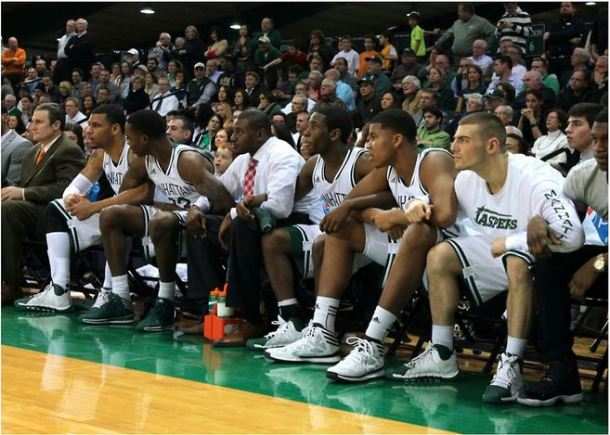 The men's basketball team pictured in the final moments of a game against Iona. Photo by Ashley Sanchez.