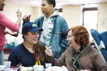 Students volunteer at the Methodist home and paint Easter eggs with the residents. Photo by James O'Connor.