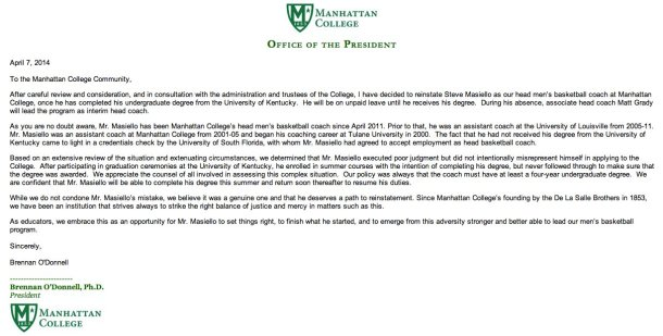 The email sent to the Manhattan College community detailing Masiello's reinstatement.