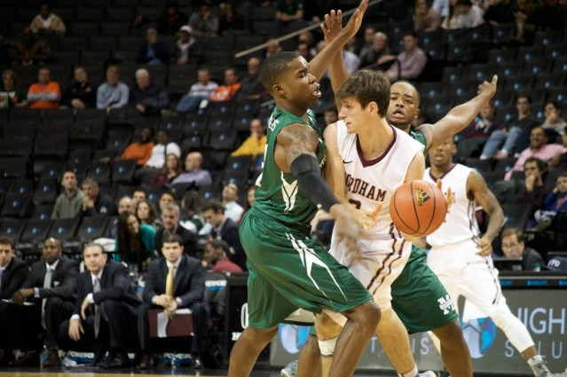 Manhattan's full court press forced Fordham to turn the ball over 18 times. Photo taken by Kevin Fuhrmann.
