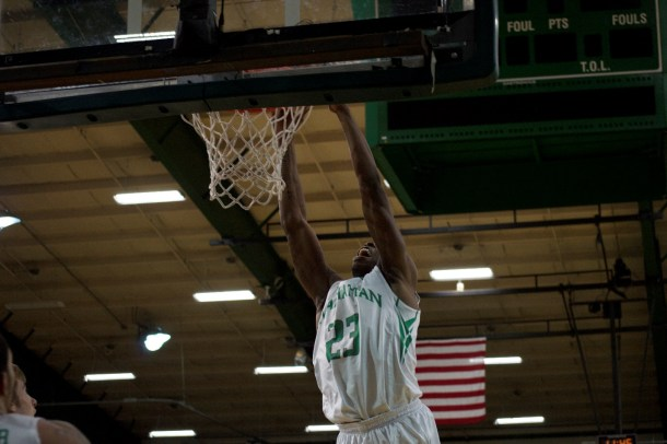 Rich Williams had his best game of the season, scoring 13 points, highlighted by this dunk. Photo taken by Kevin Fuhrmann.