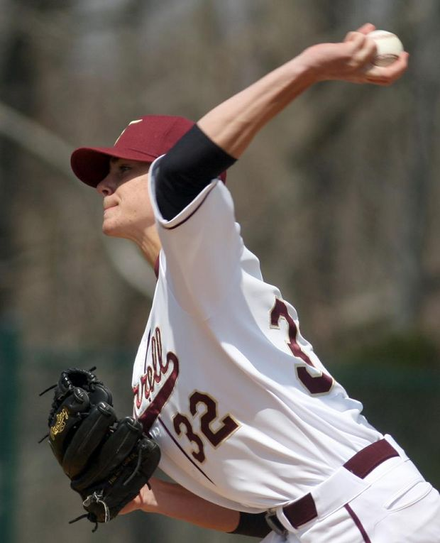 Cosgrove throwing a pitch during his 18 strikeout performance against Cardinal Spellman. Photo courtesy of the Staten Island Advance and Derek Alvez.