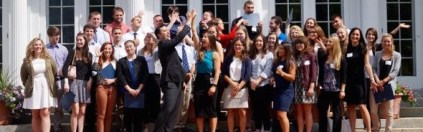 Image of intern class on the steps of the Blaine House