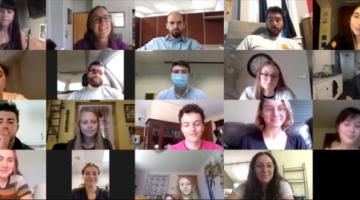 Photo of Zoom intern meeting