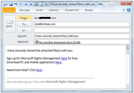 Outlook Send RMS