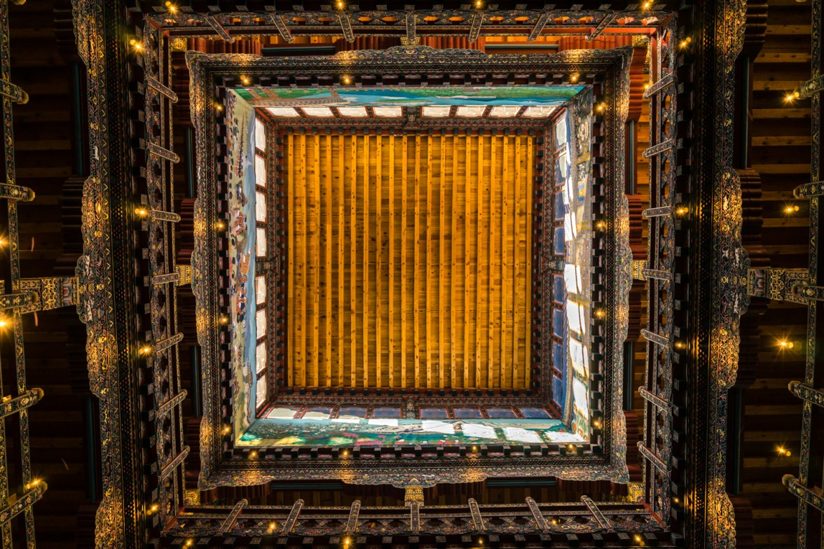 Pictures of Hotel Lobby Ceiling in Paro Bhutan by mcmessner Mary Catherine Messner