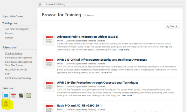 LMS Browse for training page - Filter by Materials Based Courses Icon highlighted