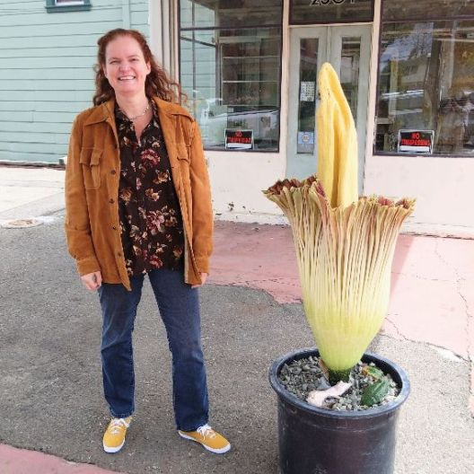 Rusty Blazenhoff with a blooming corpse flower in Alameda, California