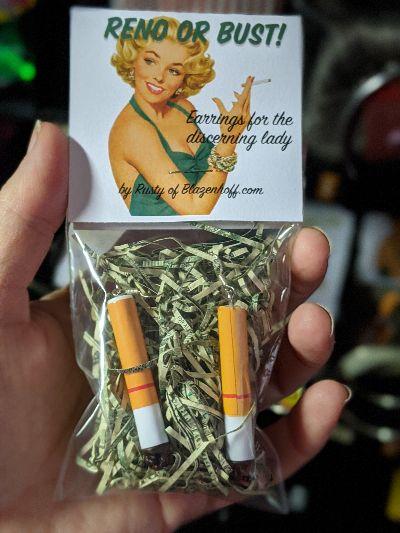 Reno or Bust! cigarette earrings