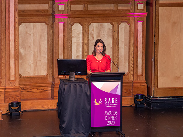 STEM journalist, broadcaster and Wiradjuri woman Rae Johnston was the MC at the SAGE Awards Dinner.