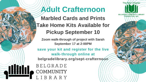 September Adult Crafternoon. Marbled Paper and Cards. Registration required.
