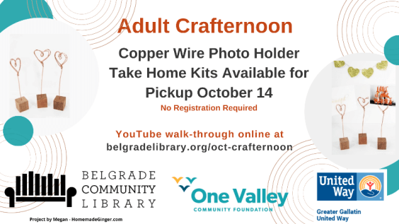 Copper Wire Photo Holders Adult Crafternoon Kits Available for pickup October 14