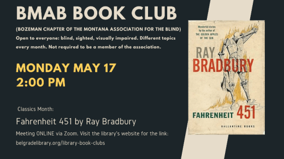 Montana Association for the Blind Book Club Announcement – meeting via Zoom