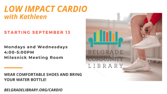 Low impact cardio every Monday and Wednesday at the library from 4:00 to 5:00 PM