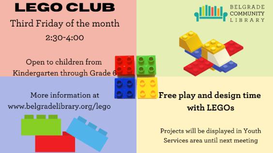 Lego Club every 3rd Friday 2:30 PM