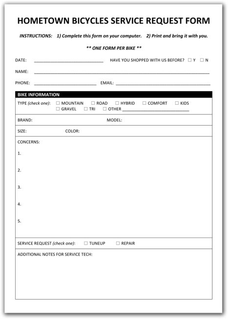 Hometown Bicycles Service Request Form