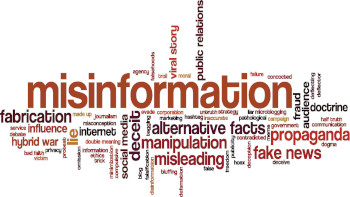A word cloud with misinformation in the middle