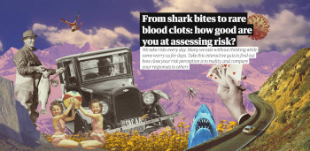 A collage of risky situations with the article headline at the top