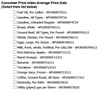 Consumer Price Index-Average Price Data
