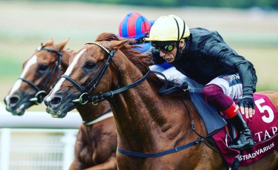 Frankie Dettori riding Stradivarious to win the Goodwood Cup. Photo: Twitter @edward_whitaker
