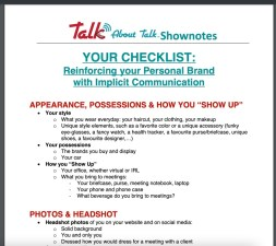 Reinforcing your Personal brand with implicit communication checklist talk about talk