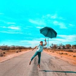 happy dance with umbrella