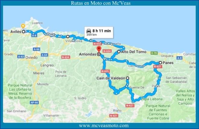 Mapa Ruta Del Cares.Cain Ruta Del Cares Rutas En Moto Con Mcveas