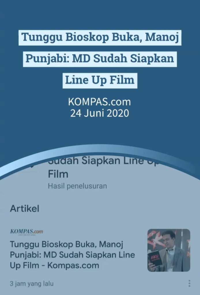 Setelah Bioskop Buka, Manoj Punjabi Produser MD Pictures Sudah Siapkan Beberapa Film