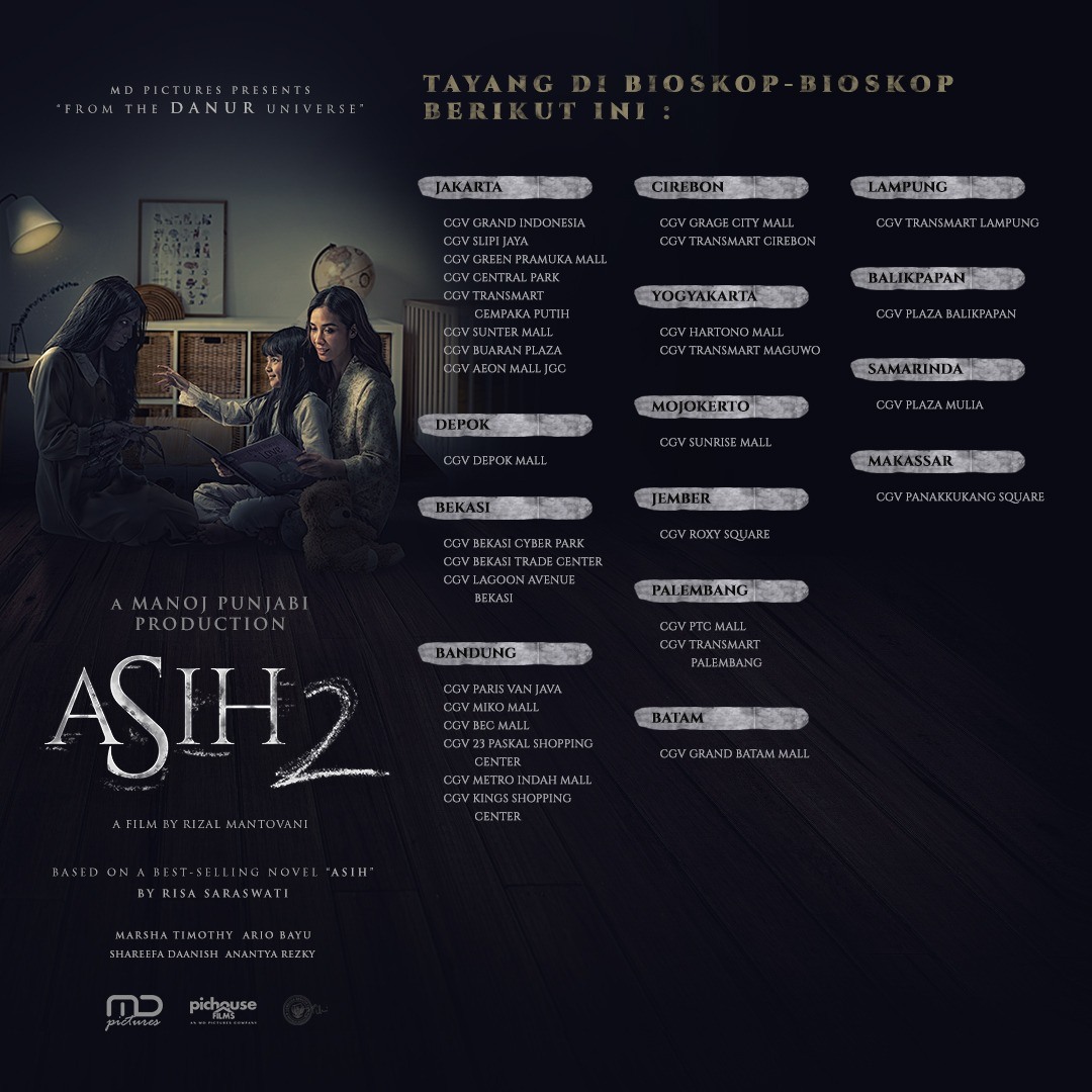 Kalian bisa nonton #ASIH2 di sederet bioskop ini. Jadi, di bioskop mana kalian akan melihat #AsihKembali?
