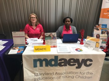 MDAEYC Program Coordinator Stephanie Schaefer and Board Member and Montgomery County Regional Officer Alicia Cross ready to greet educators.