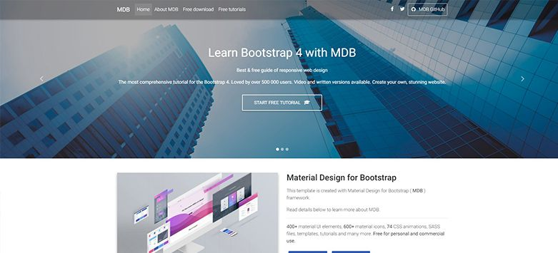 Landing Page Free Template Bootstrap 4 Amp Material Design Material Design For Bootstrap