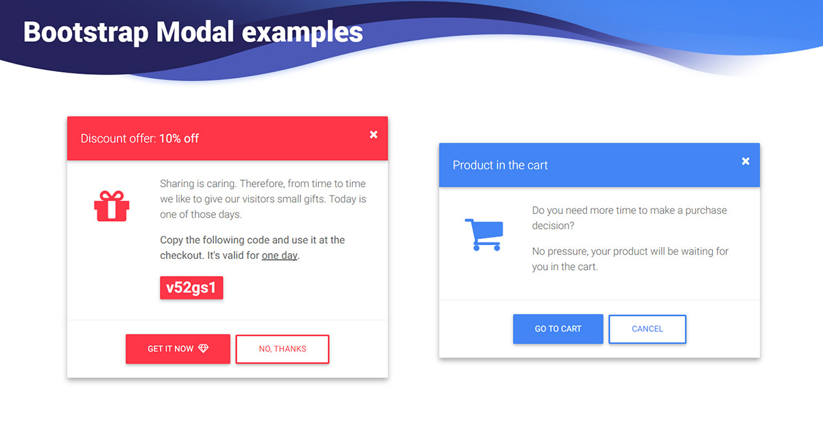 Bootstrap Modal Examples Templates Material Design For