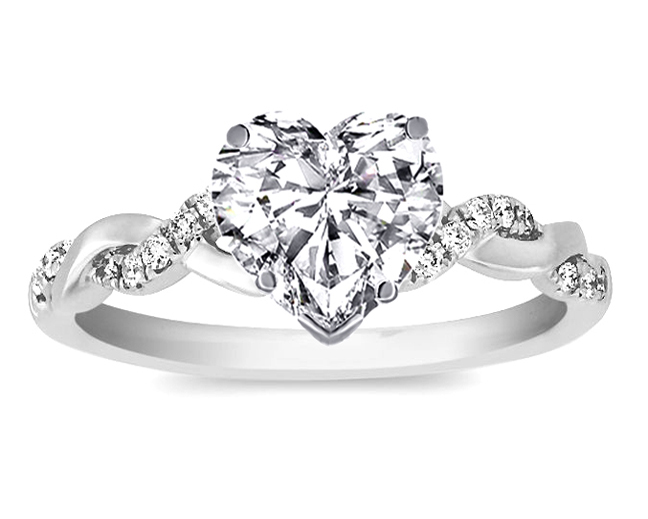 Heart Shape Diamond Petite Twisted Pave Band Engagement Ring in 14K White Gold