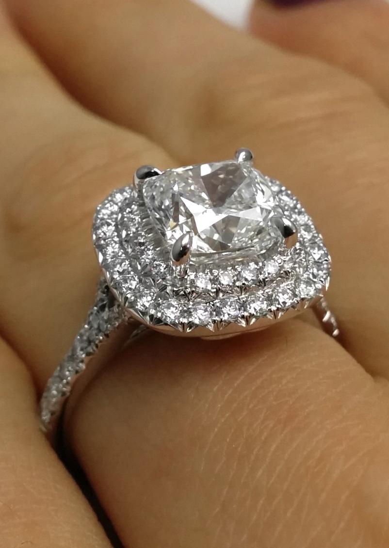Engagement Ring Cushion Diamond Double Halo Pave