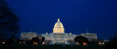 U.S. Capitol building at night in Washington, DC