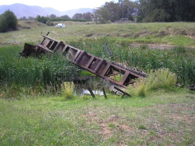 The remains of one of the dredges at Araluen