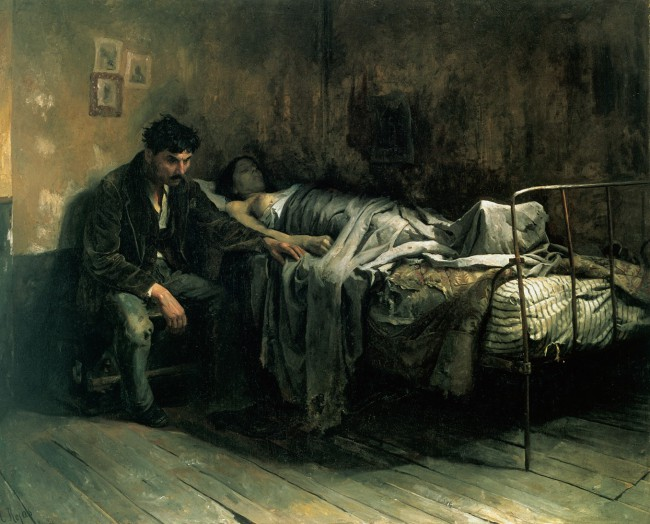 La Miseria by Cristóbal Rojas (1886). The author, suffering from tuberculosis, depicts the social aspect of the disease, and its relation with living conditions