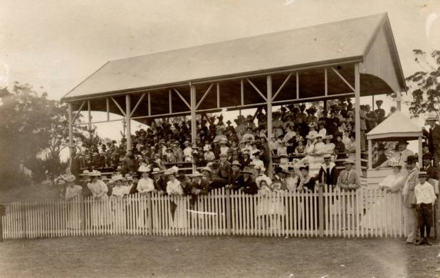 The grandstand at the old Moruya Racecourse )( now the Moruya Showground)