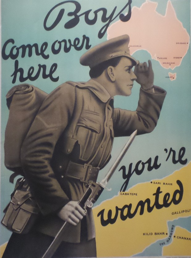 A World War 1 recruitment poster on display at the Australian War Memorial