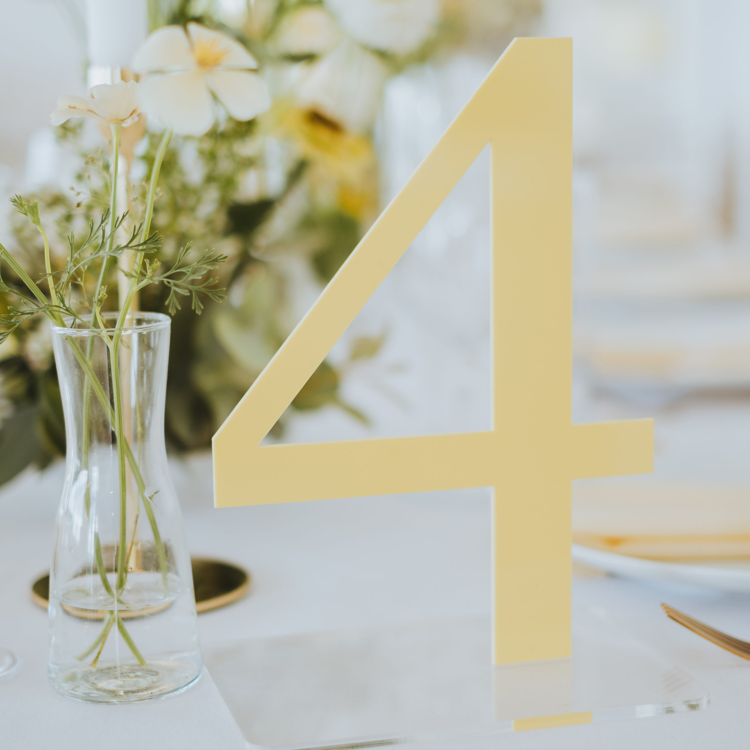 Yellow Lemon Wedding Table Number