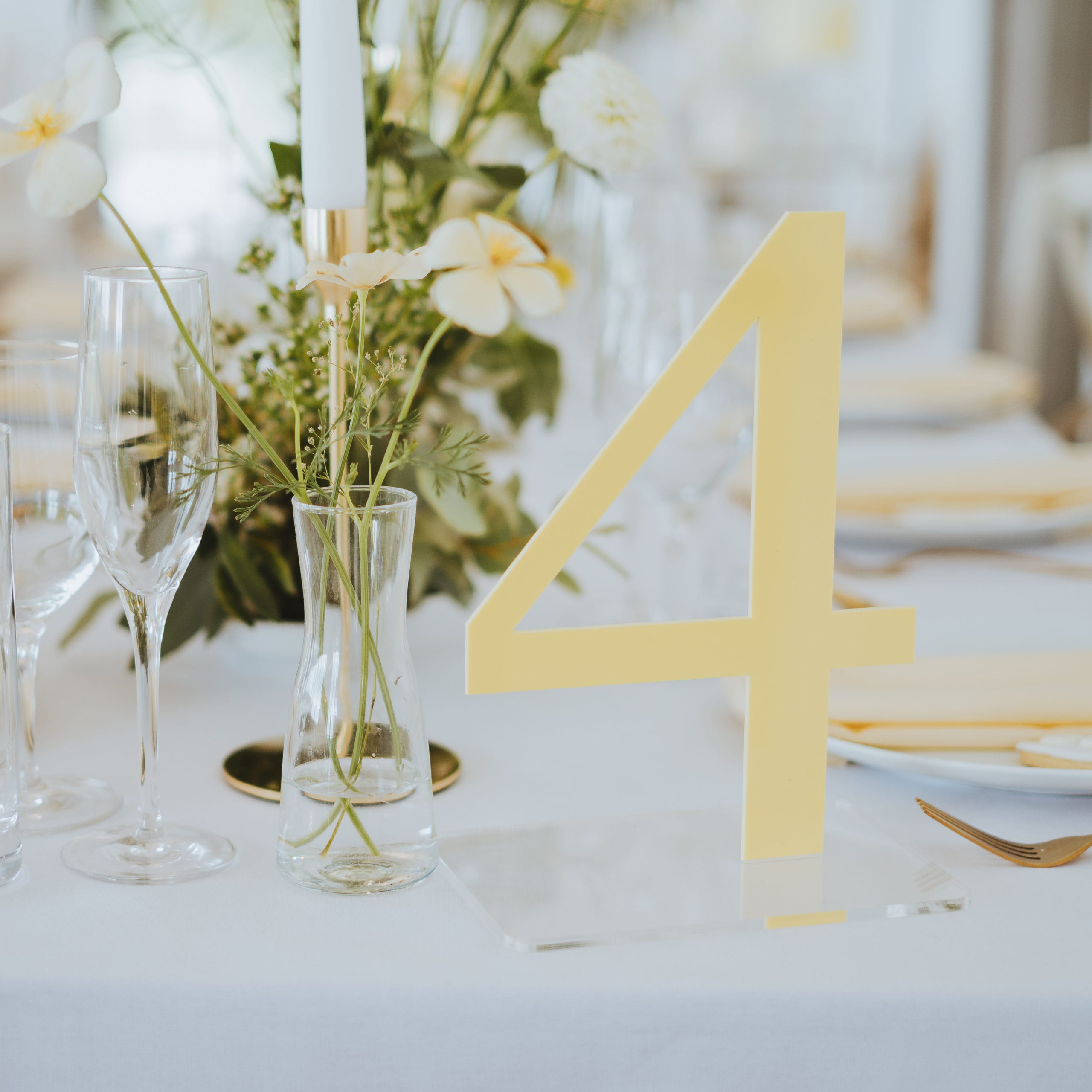 Lemon Yellow Lasercut Wedding Table Number