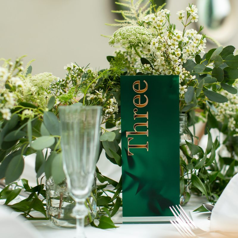 Emerald Green and Mirrored Gold Wedding Table Number