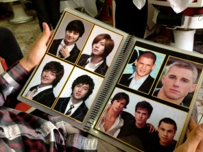 The book with haircut options- so many random US celebrities were pictured.