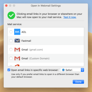 Open in Webmail settings