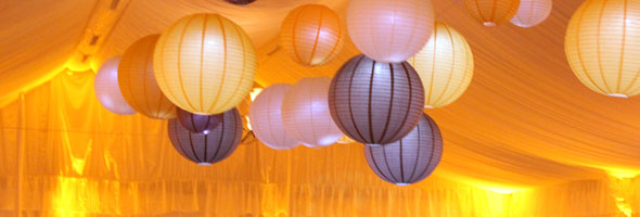 Hanging paper lanterns at a Chicago wedding