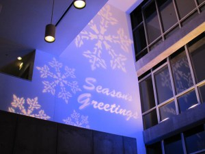 Gobo projection at a Chicago Holiday party