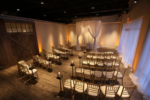 Wedding Chuppah and Amber Uplights