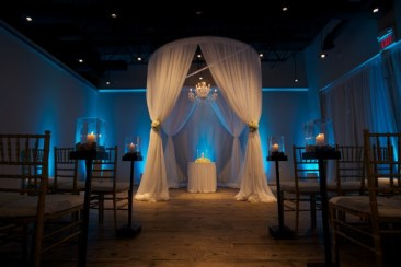 Wedding Ceremony Structure with Blue Uplights