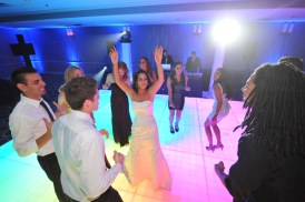 Bride on LED Dance Floor at Wedding