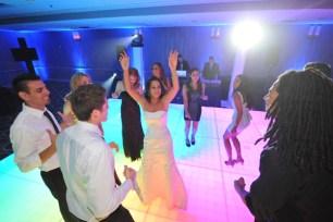 Bride on LED Dance Floor at Wedding